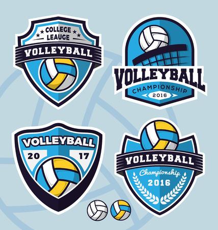 Ilustración de Set of volleyball logo template design for apparel, clothing and other design. Vector illustration - Imagen libre de derechos