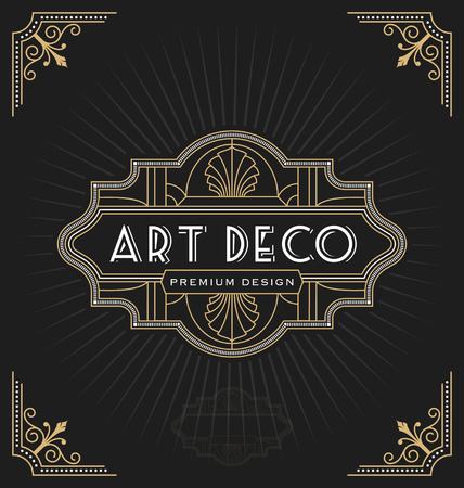 Illustration for Art deco frame and label design suitable for Luxurious Business such as Hotel, Spa, Real Estate, Restaurant, Jewelry. Vector illustration - Royalty Free Image