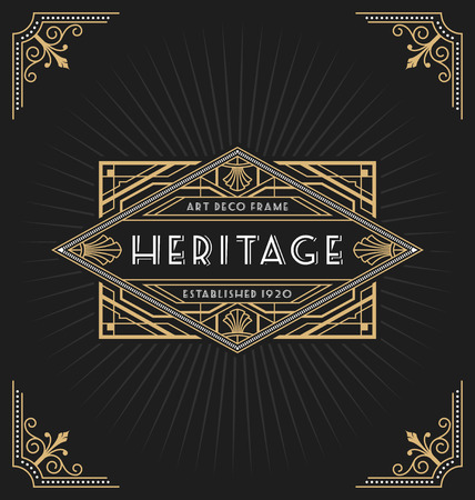 Illustration for Art deco frame and label design suitable for Luxurious Business such as Hotel, Spa, Real Estate, Restaurant, Jewelry and Product tags. Vector illustration - Royalty Free Image