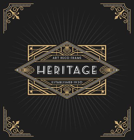 Ilustración de Art deco frame and label design suitable for Luxurious Business such as Hotel, Spa, Real Estate, Restaurant, Jewelry and Product tags. Vector illustration - Imagen libre de derechos