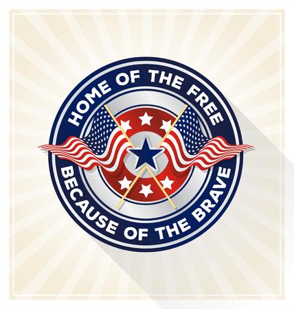 """Ilustración de Memorial day badge concept. USA patriotic shield symbol with text """"Home of the free because of the brave"""". Vector illustration - Imagen libre de derechos"""