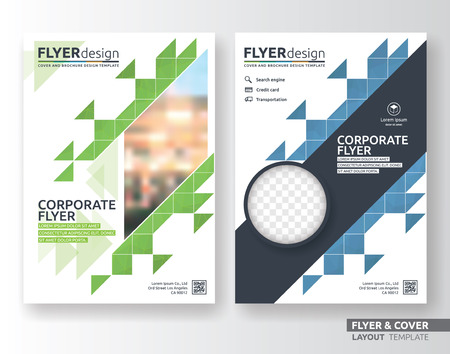 Illustration pour Multipurpose corporate business flyer layout design. Suitable for flyer, brochure, book cover and annual report. green and blue color in A4 size template background with bleeds. Vector illustration - image libre de droit