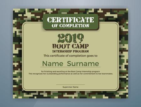 Ilustración de Boot Camp Internship Program Certificate Template Design with Camouflage Background for Print. Vector illustration - Imagen libre de derechos