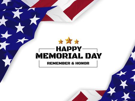 Ilustración de Happy Memorial Day Background. USA Flag Banner with Copy Space. Vector illustration - Imagen libre de derechos