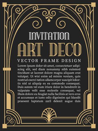 Ilustración de Luxury vintage frame art deco style. vector illustration - Imagen libre de derechos