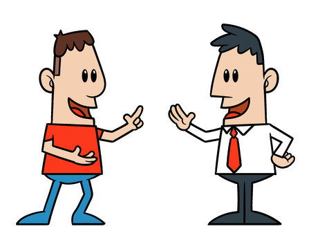 Illustration pour Two Cartoon Men Talking - image libre de droit