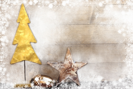 Photo for Christmas tree and star on wooden background - Royalty Free Image