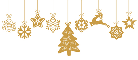Illustration for Merry Christmas. Christmas elements hanging line gold isolated background. - Royalty Free Image