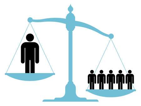 Ilustración de Illustration of an unbalanced vintage scale with a single man and a group of people on each of the pans showing the value of teamwork, cooperation and unification - Imagen libre de derechos