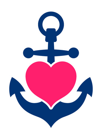 Photo for Blue marine or ships anchor with a pink heart symbolising love and romance, a honeymoon or Valentines cruise or a love of boating and yachting, vector illustration - Royalty Free Image