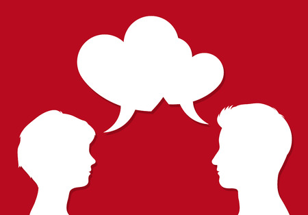 Photo pour Male and female heads facing each other with overlapping heart shaped speech bubbles symbolic of romantic communication of people in love, on red, vector illustration - image libre de droit