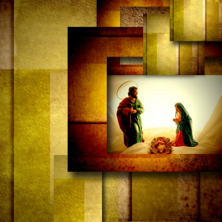 Photo pour christmas card holy family, modern geometric background in gold - image libre de droit