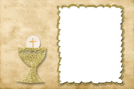 Photo for First holy communion invitation card. - Royalty Free Image