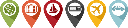 Illustration pour Colorful pins and icons for travel and vacations - image libre de droit