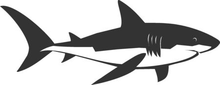 Illustration pour Illustration of a swimming profile shark - image libre de droit