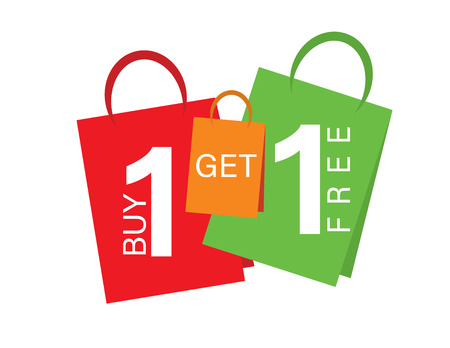 Illustration pour Sale banner Buy one get one free. Sale banner text on shopping bags - image libre de droit