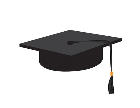 Vector Black graduate cap on White background