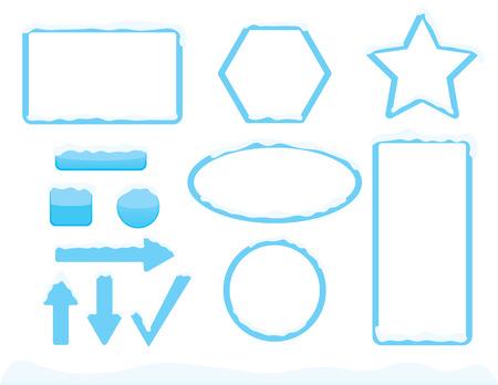 Illustration pour Winter theme frames and buttons shapes with snow - image libre de droit