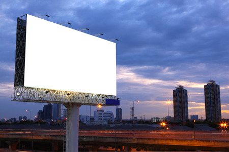 Photo for Blank billboard for advertisement at twilight - Royalty Free Image