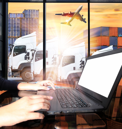 Photo for container truck and freight cargo plane concept of  import-export commercial logistic ,shipping business industry - Royalty Free Image