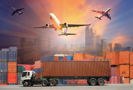 Photo for Industrial Container Cargo freight ship for Logistic Import Export concept - Royalty Free Image
