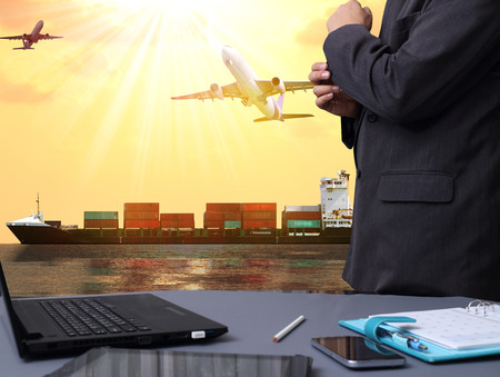 Photo for success businessman with International Container Cargo ship and airplane in the ocean, Freight Transportation, Shipping, Nautical Vessel - Royalty Free Image