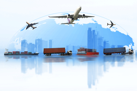 Foto de Shipping, delivery car, ship, plane transport on a background map of the world. Fast delivery concept. Delivery Global business of Container Cargo freight train for logistic import export, Business logistics concept ,  Air cargo trucking , rail transporta - Imagen libre de derechos