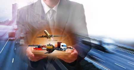 Foto per  container truck , freight cargo plane in transport and import-export commercial logistic ,shipping business industry  - Immagine Royalty Free