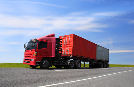 Photo pour Transportation, import-export and logistics concept, container truck, transport and import-export commercial logistic, shipping business industry - image libre de droit