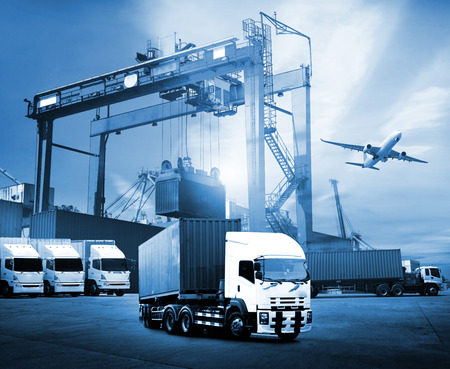 Foto per Transportation, import-export and logistics concept, container truck, ship in port and freight cargo plane in transport and import-export commercial logistic, shipping business industry - Immagine Royalty Free