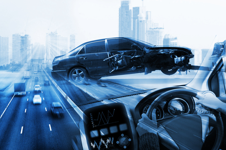 Foto per electric car or intelligent car. Heads up display(HUD). - Immagine Royalty Free