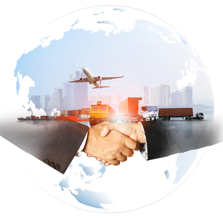 Photo pour success business of Global logistics , Air cargo trucking rail transportation maritime shipping On-time delivery,Supply Chain concept - image libre de droit