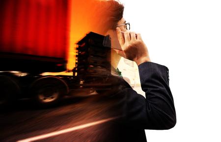 Foto de truck running on the road with the sun background , transportation concept - Imagen libre de derechos