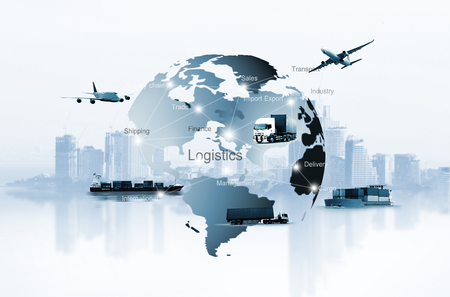 Foto per Transportation, import-export, logistic, shipping business management - Immagine Royalty Free