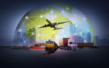 Foto per abstract image of the world logistics for support import export business and transportation - Immagine Royalty Free