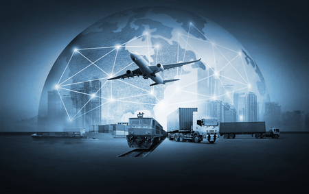 Foto per Abstract image of the world logistics, there are world map background and container truck, ship in port and airplane - Immagine Royalty Free
