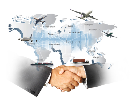 Photo for Abstract image of the world logistics, there are world map background and container truck, ship in port , airplane and hand shake for business success - Royalty Free Image