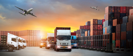 Photo for image of the logistics, there are container truck,  airplane for import export industry - Royalty Free Image