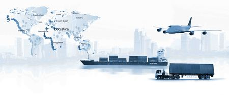 Photo for The world logistics,  there are world map with logistic network distribution on background and Logistics Industrial Container Cargo freight ship for Concept of fast or instant shipping - Royalty Free Image