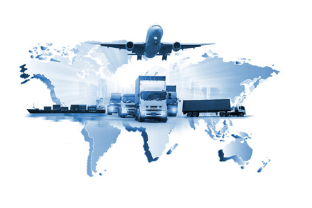 Photo for The world logistics , there are world map with logistic network distribution on background and Logistics Industrial Container Cargo freight ship for Concept of fast or instant shipping - Royalty Free Image