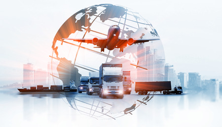 Foto de The world logistics , there are world map with logistic network distribution on background and Logistics Industrial Container Cargo freight ship for Concept of fast or instant shipping - Imagen libre de derechos