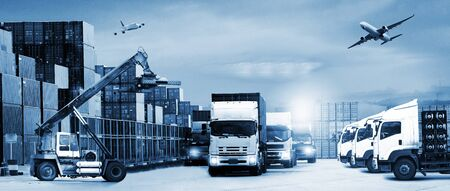 Foto per Abstract image of the logistics, there are container truck, ship in port and airplane - Immagine Royalty Free