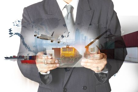 Foto per Double exposure of man with world map for logistic network distribution on background and Logistics Industrial Container Cargo freight ship for shipping and Transportation, import-export - Immagine Royalty Free