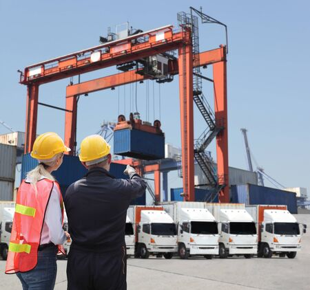 Engineering with logistics background or transportation Industry or shipping business, Container Cargo shipment, truck delivery, airplane, import export Concept