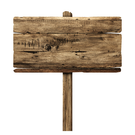 Photo pour Wooden sign isolated on white. Wood old planks sign. - image libre de droit