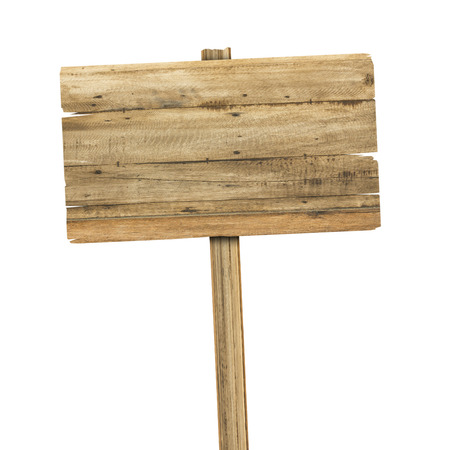Photo pour Wooden sign isolated on white. Wood old planks sign - image libre de droit