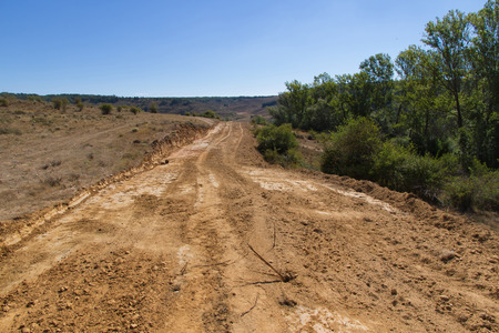 Photo pour Clearing, grading, leveling and clearing of vegetation on land field for the construction of road or highway - image libre de droit