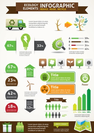 Illustration pour ECO   Green Concept Infographics  - image libre de droit