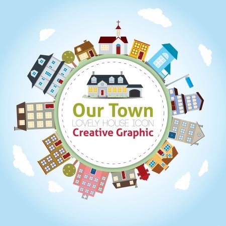 Ilustración de Our Town with Lovely House Icons - Imagen libre de derechos