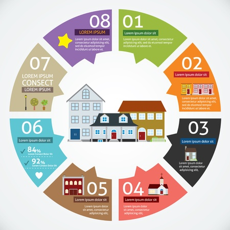 Illustration for Vector circle house concepts with icons infographics  - Royalty Free Image